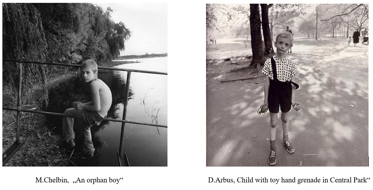 Michal Chelbin a Diane Arbus, orphan boy a child with toy hand grenade in Central Park